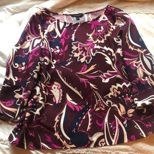 BANANA REPUBLIC - purple patterned blouse